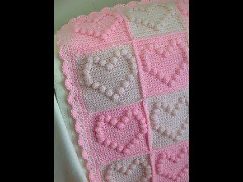 DIY tutorial - bobble stitch heart square - crochet - bubble heart square - English - YouTube