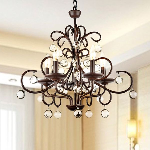 Wrought Iron And Crystal 5 Light Chandelier By The