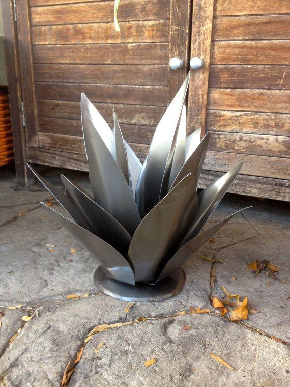 Baby Agave ruwe staal, metaal kunst in de tuin, metalen Yard kunst, Zuidwestelijke Decor, Rustiek Decor, metalen Agave, metalen Cactus, Tuin van de kunst, landschappelijk