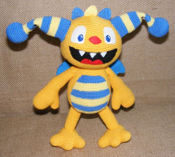 Henry Hugglemonster amigurumi crochet toy, Disney character, monster crocheted, cute Henry, yellow and blue Henry, artist henry, toy gift