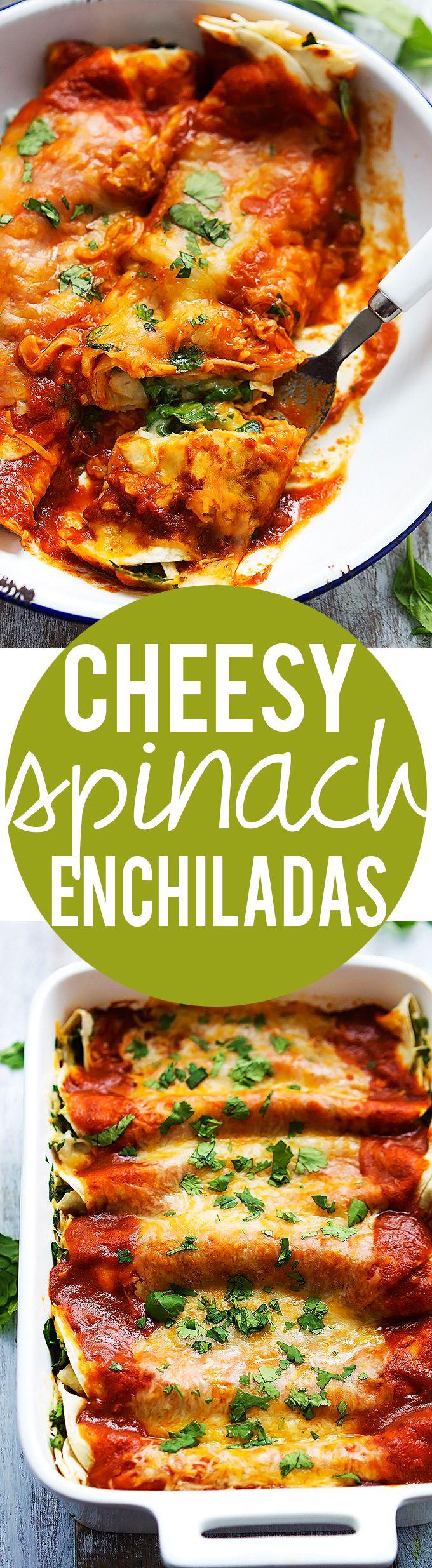 Incredibly yummy and easy Spinach Cheese Enchiladas | Creme de la Crumb