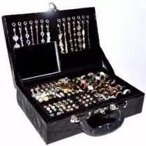 atacado kit 150 pçs semi-jóias folheadas + linda maleta   4