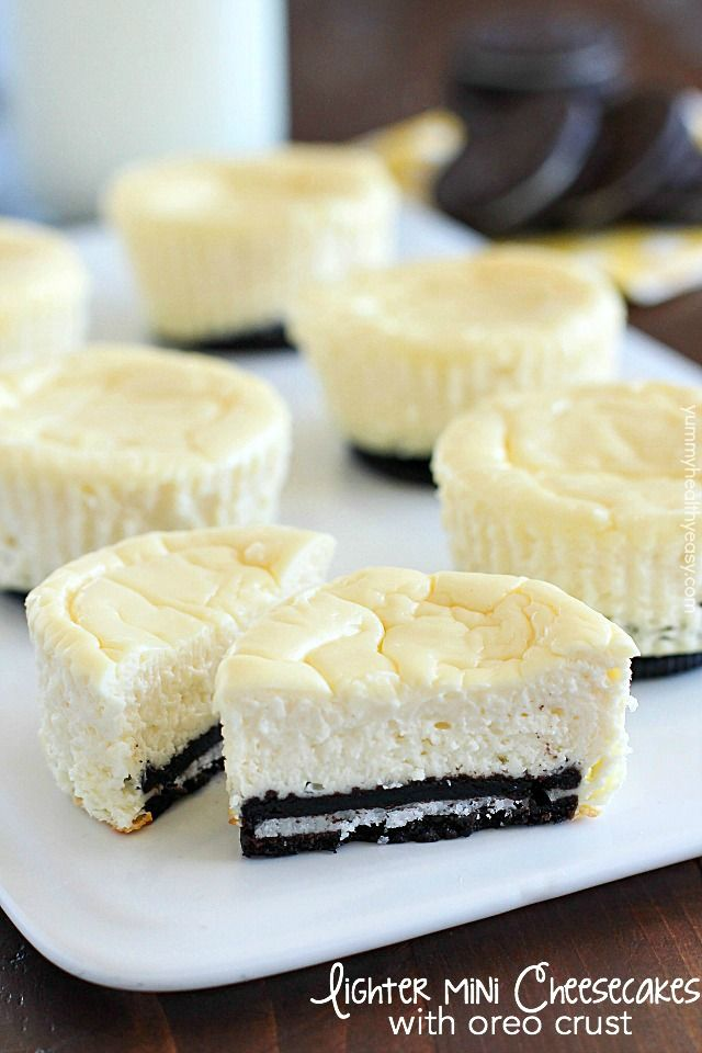 Mini Cheesecakes with an Oreo crust! This lighter recipe is absolutely delicious and super easy to make. Only a few ingredients + built-in portion control!