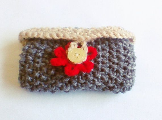 Hey, I found this really awesome Etsy listing at https://www.etsy.com/listing/179527102/gray-red-hand-knit-flower-cell-purse