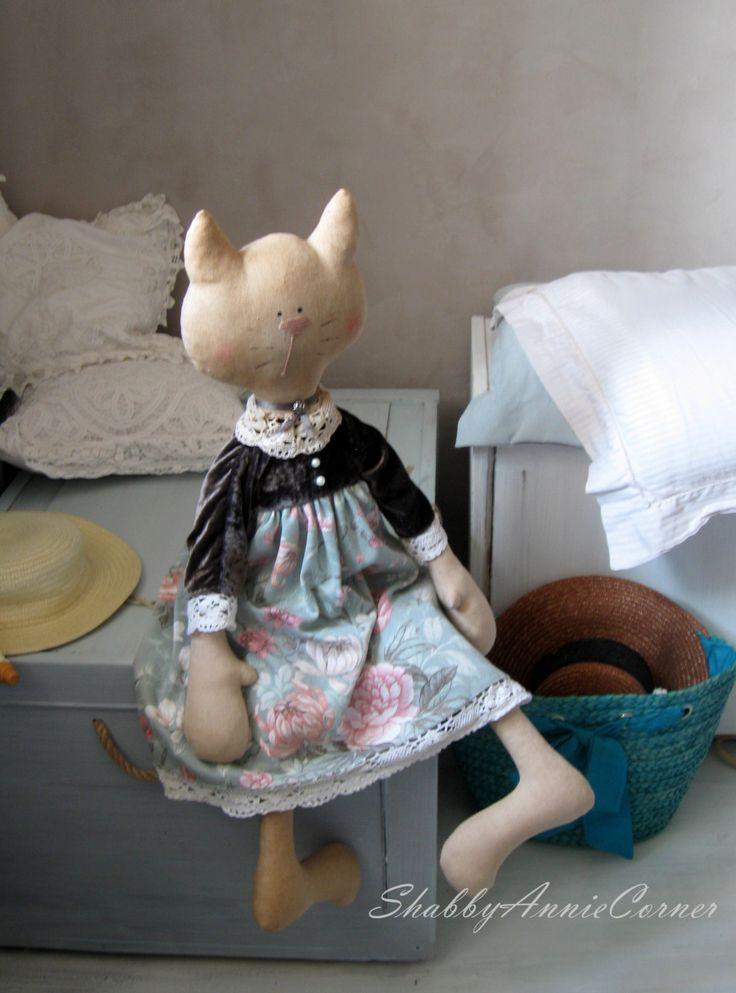 Cat Stuffed toy Shabby chic Cat doll Girls by ShabbyAnnieCorner