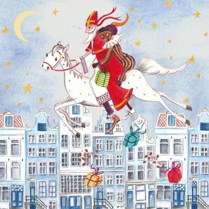 Sinterklaas Zwarte Piet Huis Illustratie 1