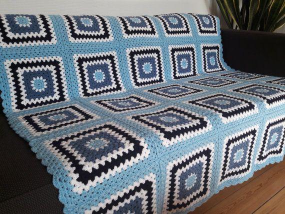 Blue Crochet Throw Blue Crochet Blanket Blue by PhoenixSmiles