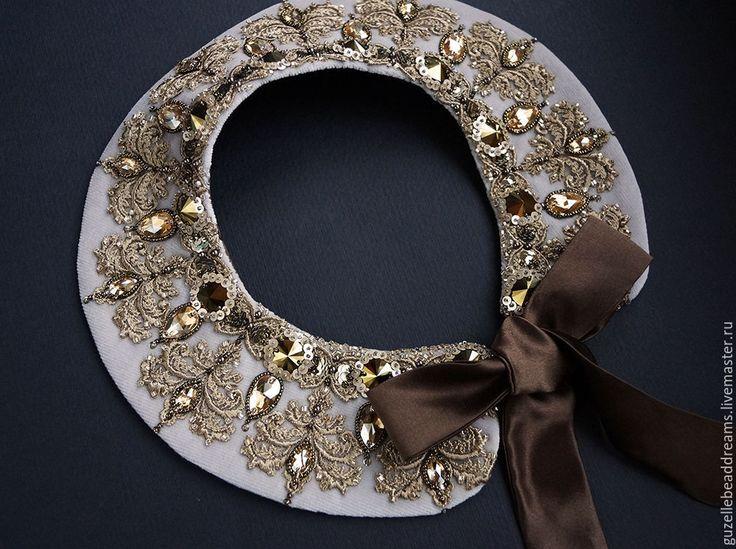 Купить Воротник - золотой, кремовый, бежевый, золотое кружево, воротник, роскошный воротник, воротничок
