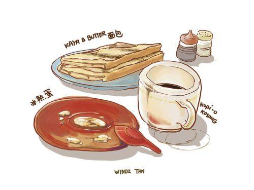 近所の喫茶店のコピオ・コソン(ブラックコーヒー )、半熟卵、カヤトースト。醤油と胡椒をかけた半熟卵が大好きで、一番に食べる。