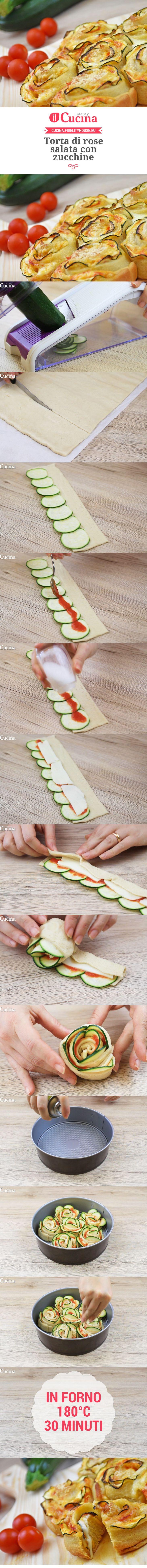 Torta di rose salata con zucchine