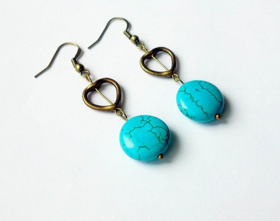 Turquoise Earrings Boho Earrings Dangle Earrings by CatiShop