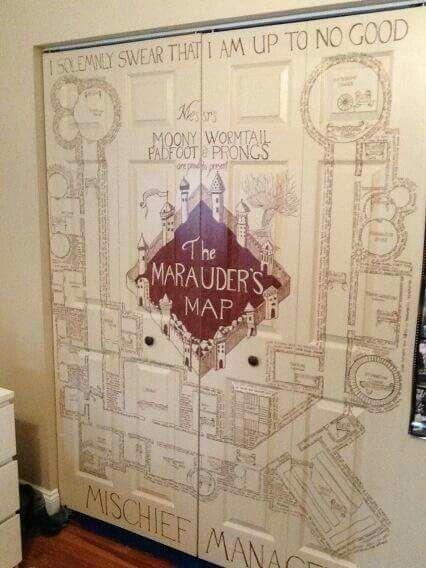The Marauder's Map hanf painted closet door -- Harry Potter,, home decoration, DIY