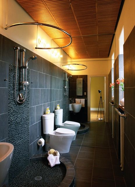 Bathroom - Glamours Black Wall Bathroom With Concrete Wall Concrete Floor Open Shower Room Wooden Ceiling Wall Mirror And Some White Sinks Brown Ceiling: Awesome Small Bathroom Design Ideas for Your Comfortable Relaxation Time