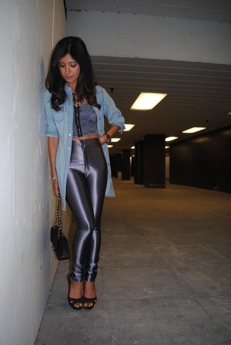 Crop top and denim - disco pants