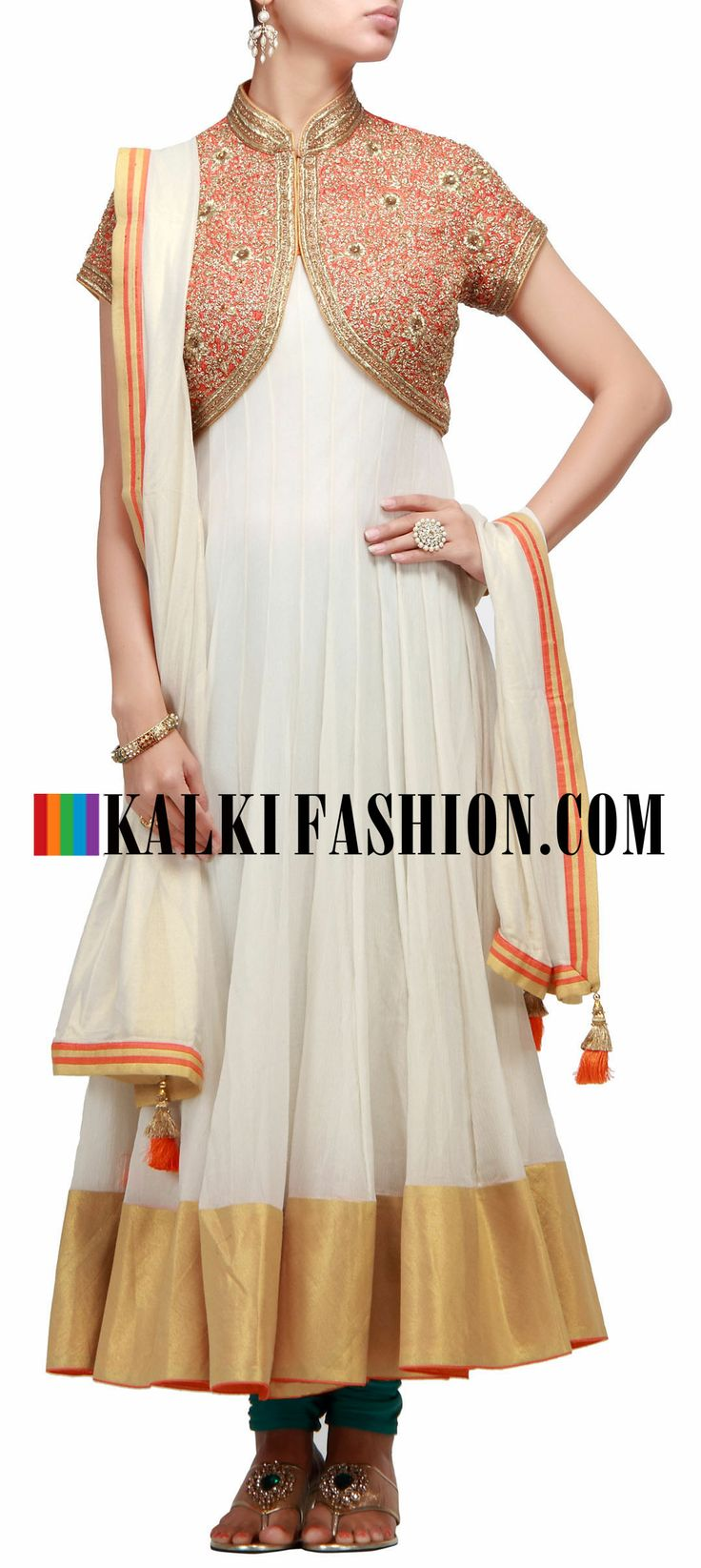Buy Online from the link below. We ship worldwide (Free Shipping over US$100) http://www.kalkifashion.com/anarkali-suit-in-cream-with-shrug-in-zardosi-embroidery.html Anarkali suit in cream with shrug in zardosi embroidery