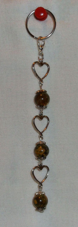 OOAK Handmade Tourmaline Hearts Key Chain, Purse Dangle, Backpack Dangle, Pendant, Charm - pinned by pin4etsy.com