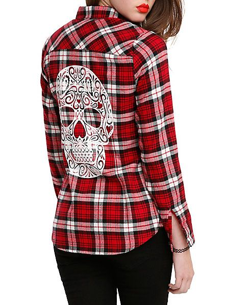 Red Plaid Sugar Skull Girls Woven Top | Hot Topic