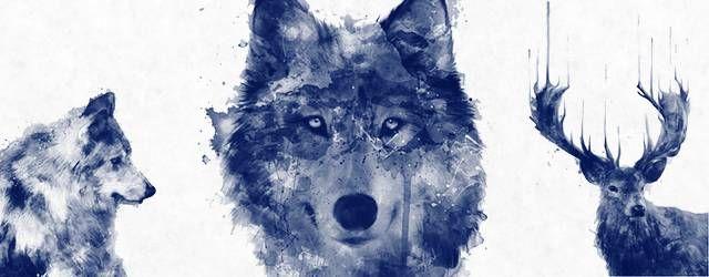 無料素材:狼や鹿などの動物をクールにデザインしたPhotoshop用水彩ブラシ