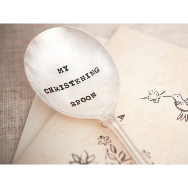 A silver plated vintage tea spoon hand stamped with 'My christening spoon'. The perfect gift for a lovely little mini person celebrating a christening! Gifts Less Ordinary | Unique and Personalized Gifts