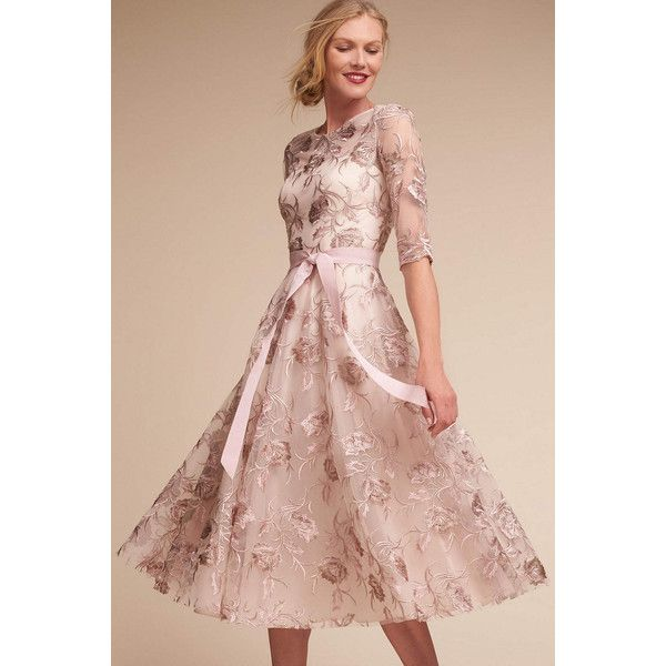 Anthropologie Linden Wedding Guest Dress ($280) ❤ liked on Polyvore featuring dresses, peach, ribbon dress, vintage looking dresses, pink satin dress, embroidered dress and anthropologie