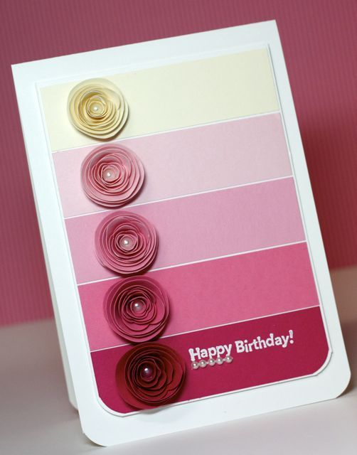by Alisa Tilsner: Paint Chip Cards, Crafts Ideas, Paintings Chips Cards, Rose Cards, Handmade Cards, Birthday Cards, Cas Cards, Homemade Cards, Cakes Cards