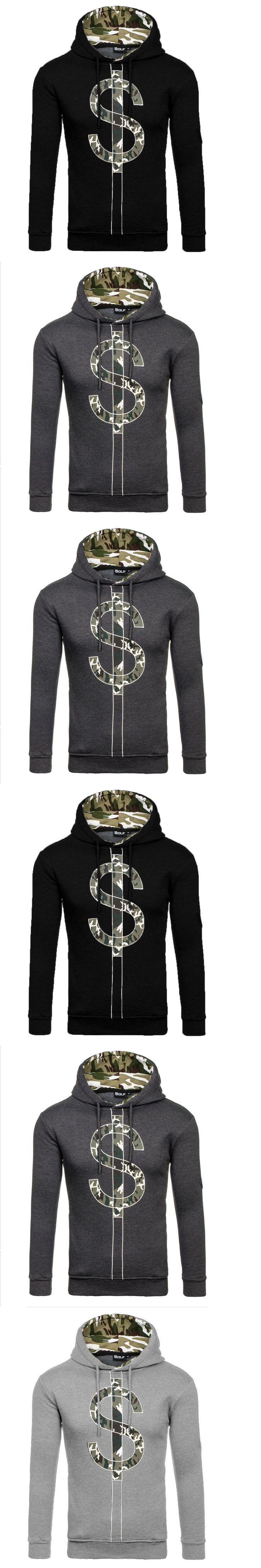 Men Fashion Camouflage Letter Print Hoodie Spring Autumn Pullover Outwear Thickening Warm Hooded Sweatshirt
