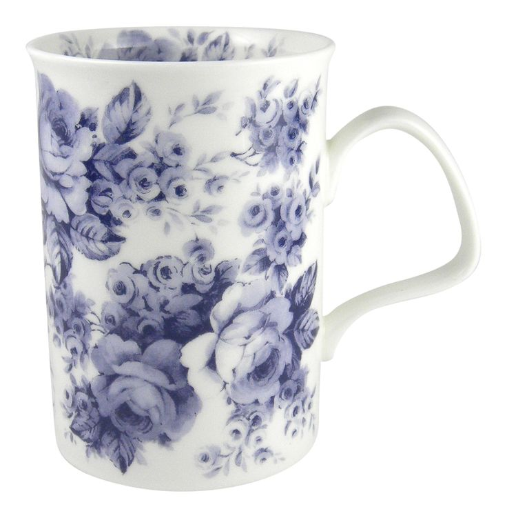 Roy Kirkham Blue Rose English Chintz Mug - Enjoy a cup of your favorite tea or coffee in sophisticated style with this lovely mug from England.