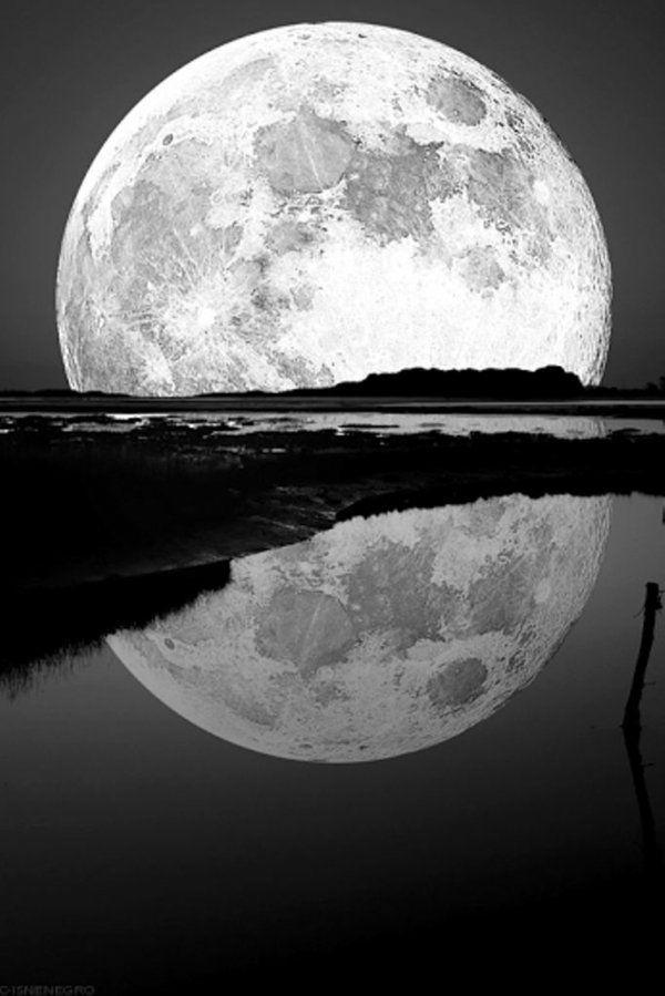 La superbe lune au bord de la mer