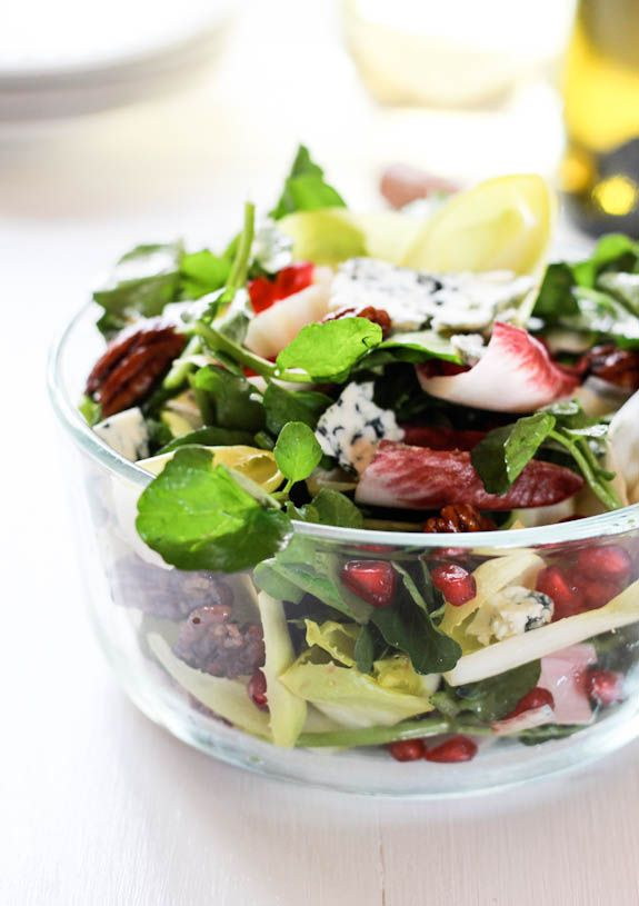 Winter Celebration Salad - A delicious mix of color greens with a dash of sweetness in the brown sugar pecans.  #salad #healthy #holidays www.sandersfirstfresh.com