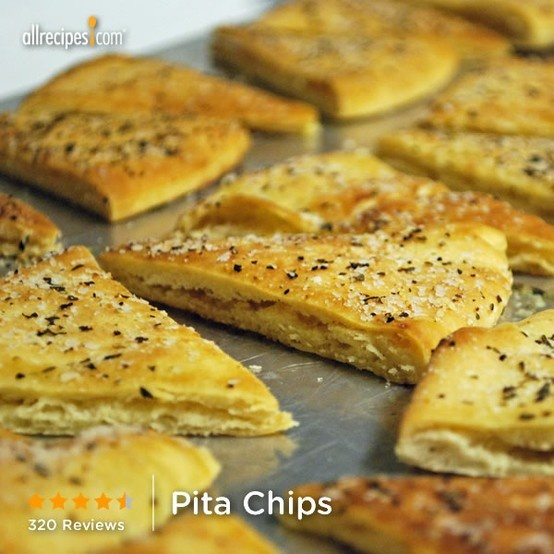"Pita Chips | ""These fresh-from-the-oven triangles--pre-brushed with olive oil and herbs--have a warm and crunchy warm snap that you just can't get from a store bought bag."""