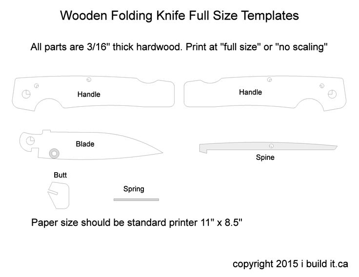 Folding Knife Template Knives Wooden Pocket Knife