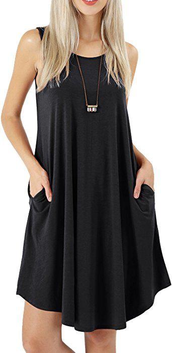 36c7a09aff peassa Womens Summer Sleeveless Casual Plain Loose T Shirt Beach Dress  Black L at Amazon Women's Clothing store: