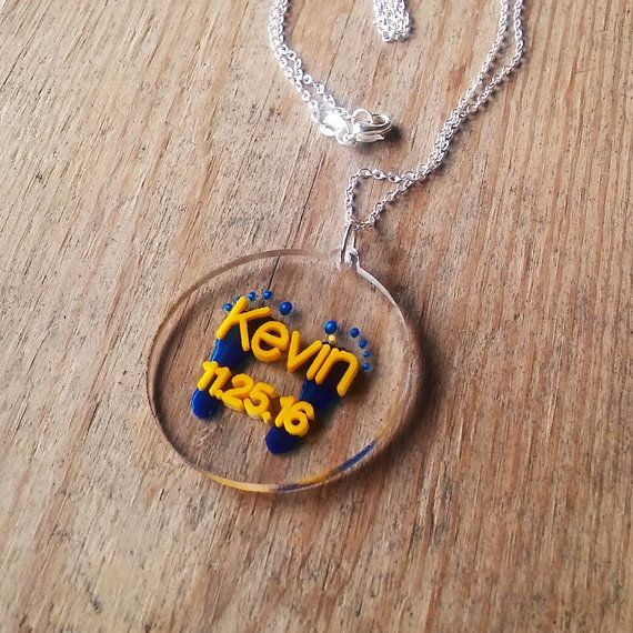 Personalized acrylic necklace  Double layered inlay with by mozzin