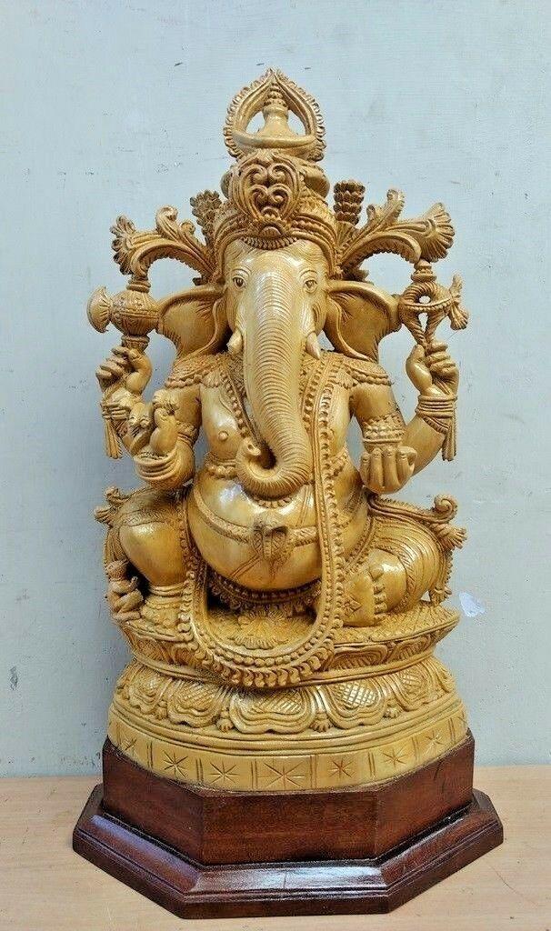Ganesha Sculpture Hindu God Ganesh Cedar Wood Statue Yali Prabha