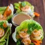 Shrimp Lettuce Wraps with Peanut Dipping Sauce