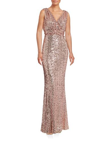 Women Evening Gowns Rose Goldtone Sequin Column Gown