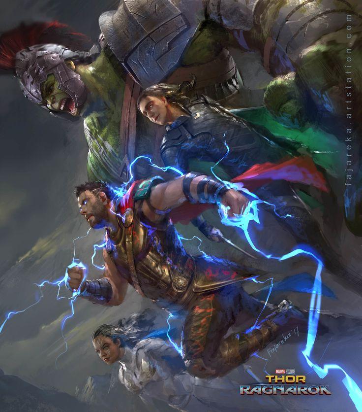 Thor, The Hulk, Valkyrie, and Loki (Ragnarok/by: Fajareka Setiawan)