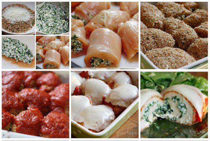 Rolinhos de Frango com Espinafre à Parmigiana   Ingredientes:      8 filésde frango finos-    1/2 xícara de trigo integral pão ralado experientes italianos-     1/4 xícara de queijo parmesão ralado, divididos     6 colheres de sopa de claras de ovos ou batedores de ovo-    200g de espinafre picados finos-    6 colheres de sopa de queijo parte desnatado ricota     6 pedaços raladodo de desnatado mussarela ou requijão(copo)     azeite antiaderente spray (eu uso o meu Misto