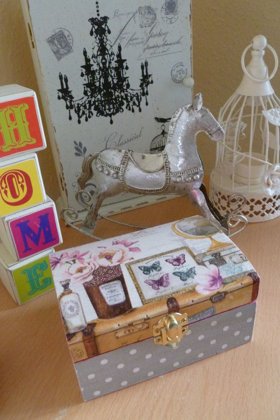 wooden jewellery box with butterfly decoupage by madebytimea
