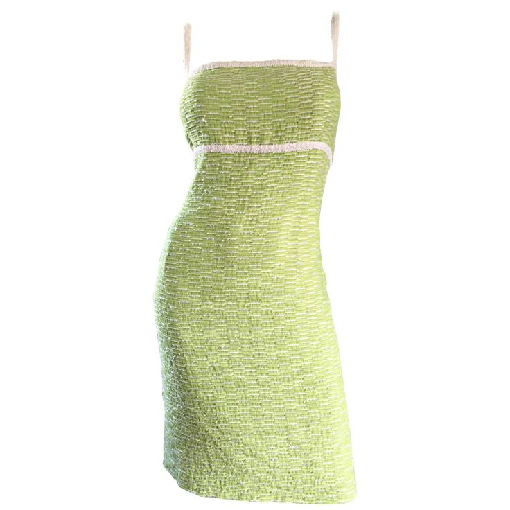 Escada Margaretha Ley Late 1990s Light Green White Boucle Size 42 12 - 14 Dress | From a collection of rare vintage day dresses at https://www.1stdibs.com/fashion/clothing/day-dresses/