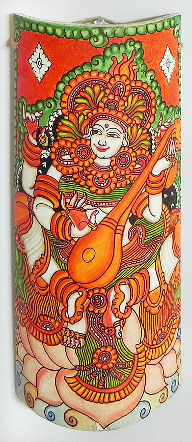 Goddess Saraswati - Wall Hanging (Mural Painting on Bamboo)