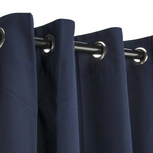 Navy Sunbrella Outdoor Curtains Grommets $99.99  Designed for heavy use and minimal care, Sunbrella is the most established, best known high -performance outdoor fabrick on the market today, with an unmatched history of quality, durability andproduct attractiveness. A heavy-duty yet lightweight solutio