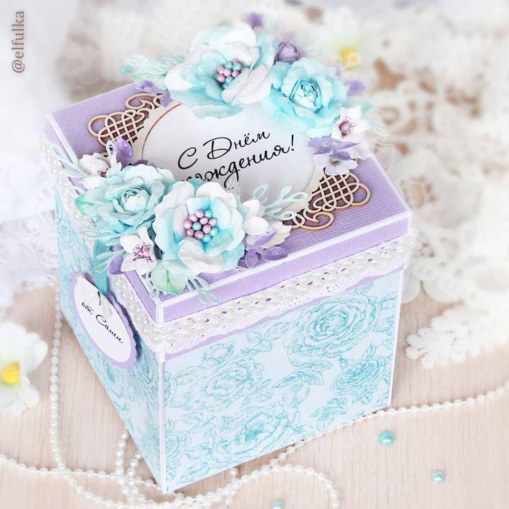 Открытка коробка с фото, днем рождения