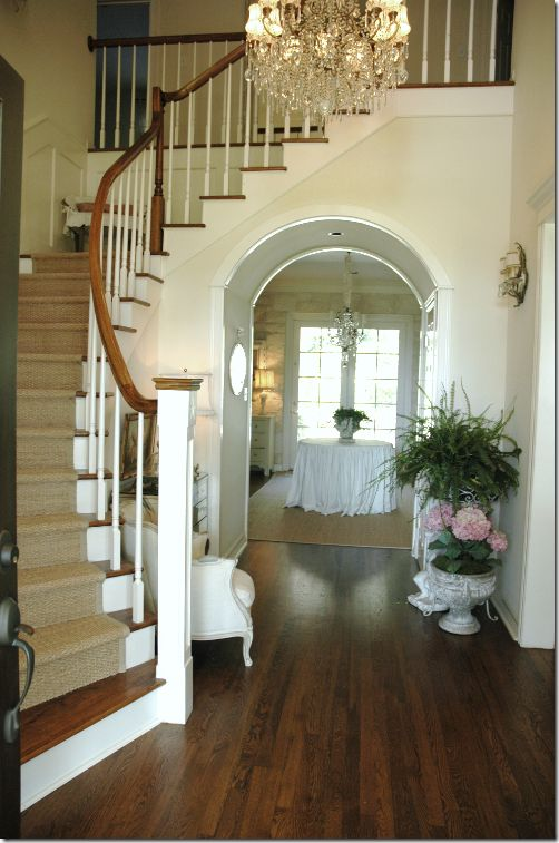 i like the way the stairs have carpet, but also have wood showing, because I do not want all carpet or all wood stairs!