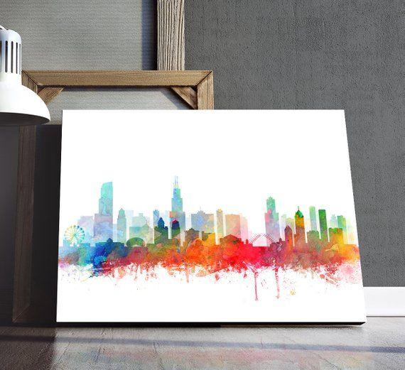 Chicago Skyline Print Watercolor Chicago Illinois Cityscape Etsy Digital Art Printables Printable Art Modern Wall Art