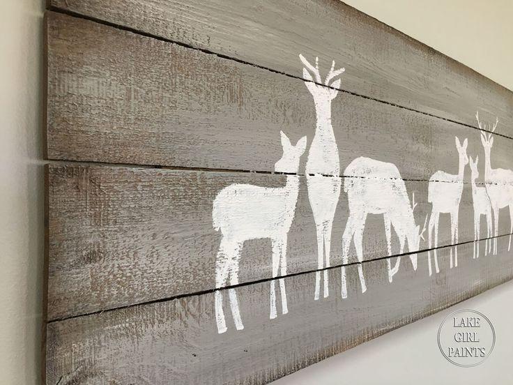Lake Girl Paints: Planked Wood Art - Reindeer Row- Includes pattern
