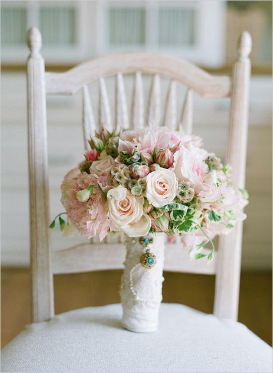 pink and green vintage wedding bouquet #bouquet #vintagewedding #weddingchicks http://www.weddingchicks.com/2014/03/11/newport-beach-glittery-pink-wedding/