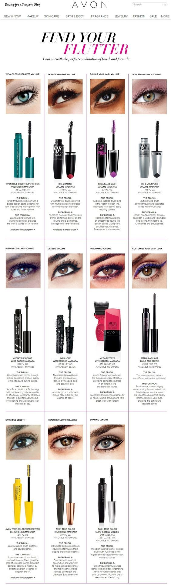 Find you flutter with this handy Avon Mascara guide.. Regularly $7.99 and up shop Avon mascara online at www.youravon.com/my1724 or by clicking the pin to take you to the sales.