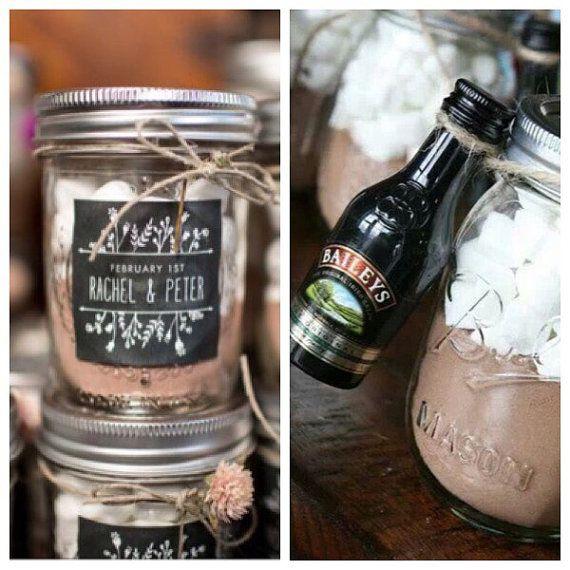 Wedding Favours, Autumn / Winter Wedding, Hot Chocolate & Marshmallows, Mason Jars, Personalised.