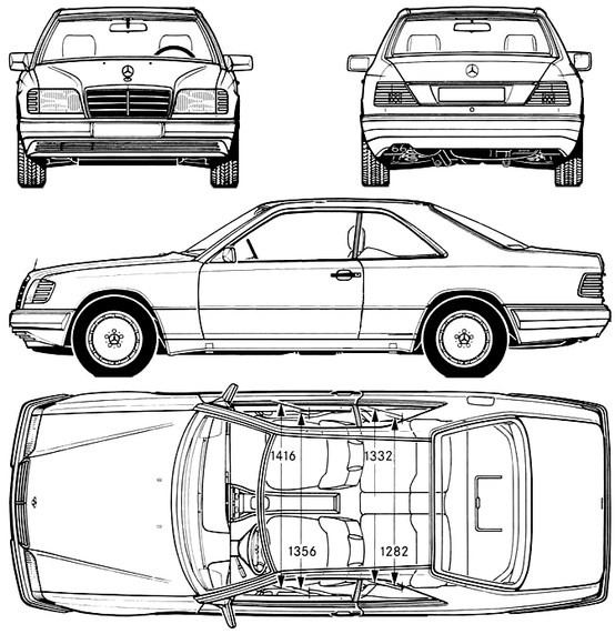 Mercedes-Benz W124 coupe drawing.
